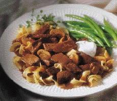 Easy beef stroganoff dinner from round tip steaks